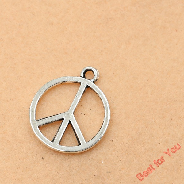 10pcs Antique Silver Plated Peace Sign Charms Pendants For Jewelry Making Craft Diy Handmade 25x22mm