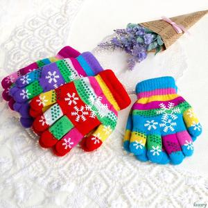 KLV S/M Winter Children Warm Snow Print Colored Knit Gloves