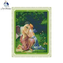 Joy sunday figure style A Kissing of Angels modern christmas counted cross stitch pattern kits embroidery painting