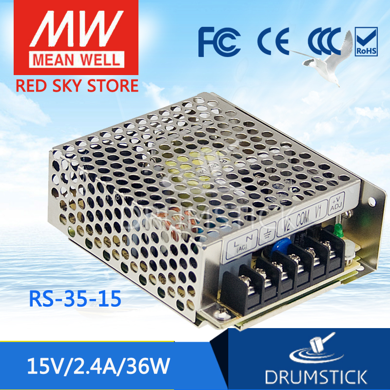 Best-selling MEAN WELL RS-35-15 15V 2.4A meanwell RS-35 15V 36W Single Output Switching Power Supply [freeshipping 1pcs] mean well original rs 25 15 15v 1 7a meanwell rs 25 25 5w single output switching power supply