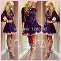 2015  Cocktail Dresses With Crew Neck Sheer  Sleeve Lace Pleats Zipper Back A Line Short/Mini Skirt Custom Made Dresses