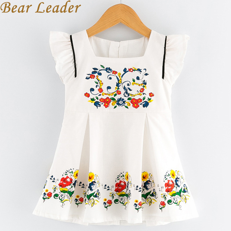 Bear Leader Girls Dress 2017 Summer Style Fashion Princess Dresses Sleeveless Floral Pattern Prining for Kids Clothes 3-7Y Dress bear leader girls dress 2016 new summer style party dress stella the swallow embroidered sleeveless dress girls princess dress