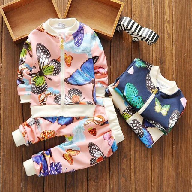 Niños Bebés y de Los Muchachos de La Ropa de Moda de Impresión de la mariposa manga larga Del Juego Del Deporte de La Camiseta + Pants kids clothes set