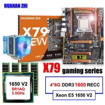 유명한 브랜드 huanan zhi 디럭스 x79 마더 보드 m.2 슬롯 cpu 인텔 제온 e5 1650 v2 쿨러 ram 32g (4*8g) 1600 reg ecc