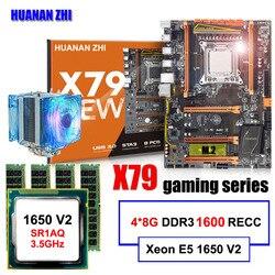 Famosa marca HUANAN ZHI deluxe X79 Placa base con M.2 ranura CPU Intel Xeon E5 1650 V2 con enfriador RAM 32G (4*8G) 1600 REG ECC