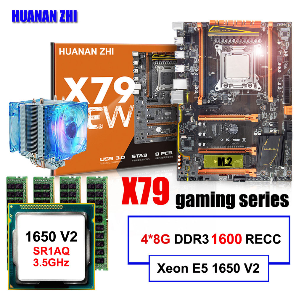 Famous brand HUANAN ZHI deluxe X79 motherboard with M.2 slot CPU Intel Xeon E5 1650 V2 with cooler RAM 32G(4*8G) 1600 REG ECC brand new promotional huanan zhi deluxe x79 motherboard cpu intel xeon e5 2620 srokw ram 32g 4 8g ddr3 1600 recc all tested