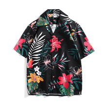 Summer loose Mens Shirts Holiday style Hawaii floral print short sleeves Fashion Women/mens beach A348