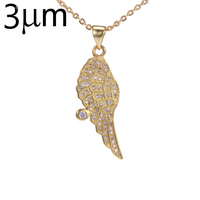 3UM Angel Wing Necklace For Women Guardian Angel AAA Zircon Micro Paved Brass Silver Gold Color