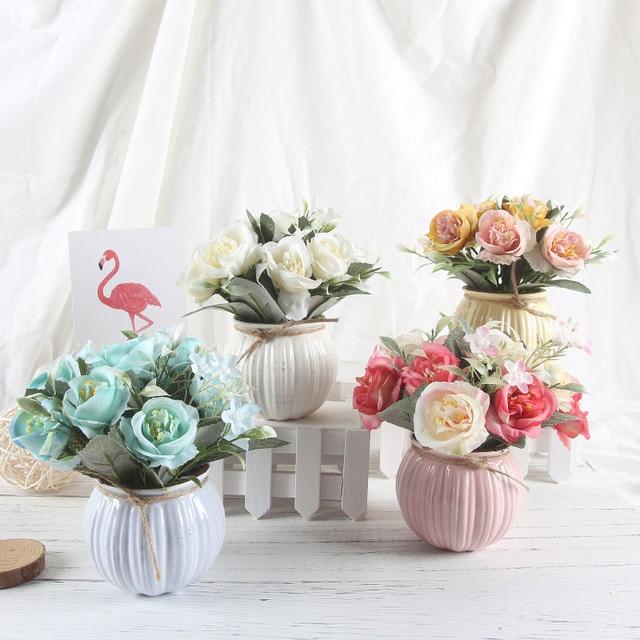 Zinmol Artificial Plants Decorative Flowers Pumpkin Fake Rose Bonsai Silk Flower Home Decor 1