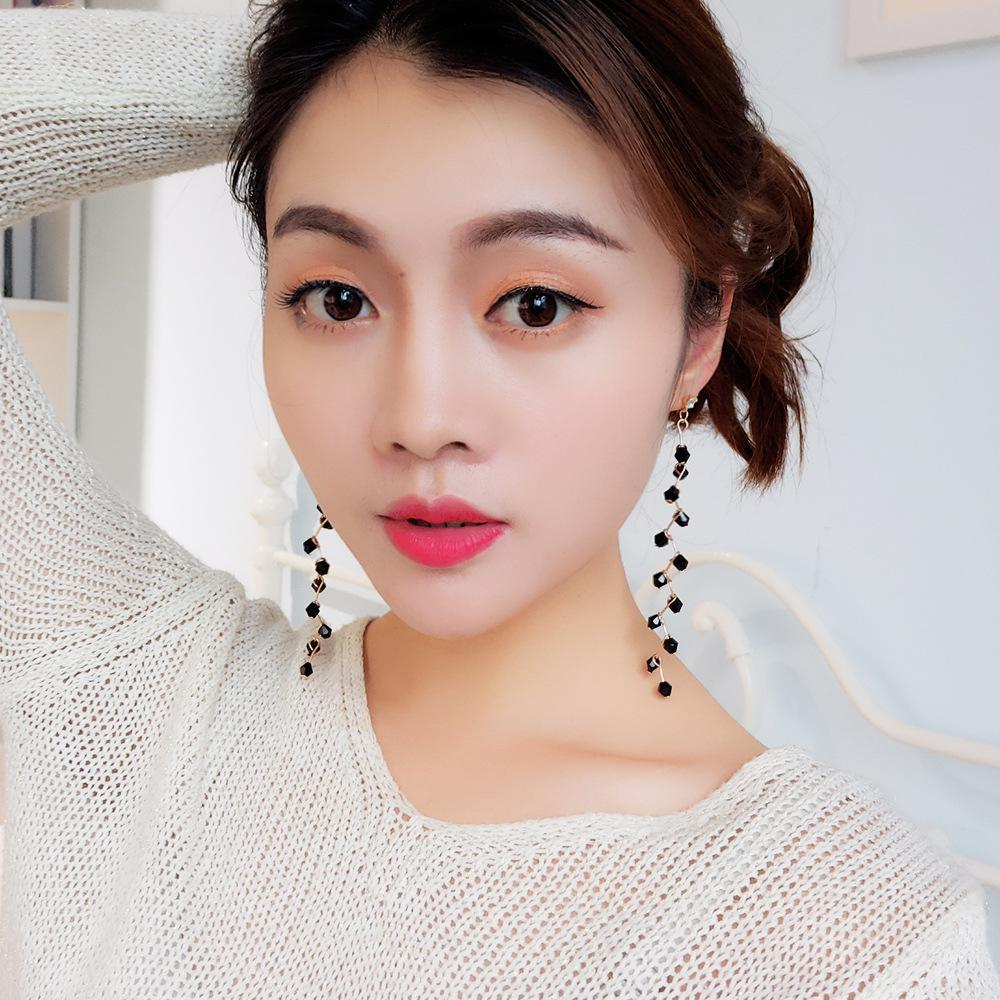 Korean Version Of The Temperament Long Earrings Fashion Wild Crystal Earring Personality Super Fairy Girl Earrings Brincos girl
