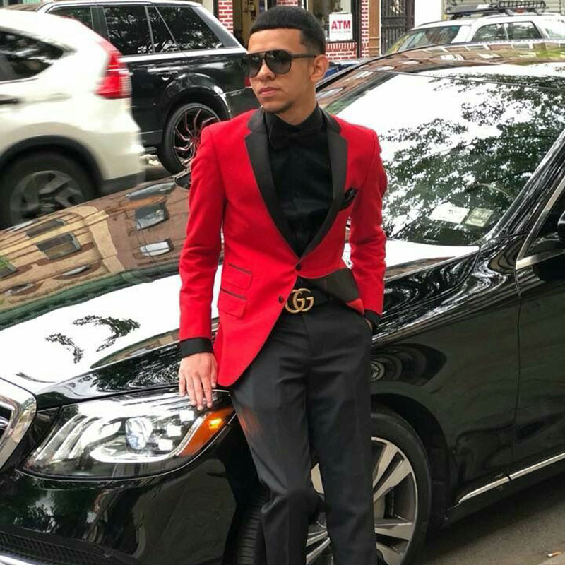2019 Red Wedding Suits For Men Groom Wedding Tuxedo 2Piece Coat Pant Slim Fit Terno Masculino Costume Homme Prom Best Man Blazer
