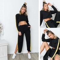 Women Tracksuit 2017 Spring Autumn Sports Suit Long Sleeve Crop Hoodies Button High Split Pants Suit