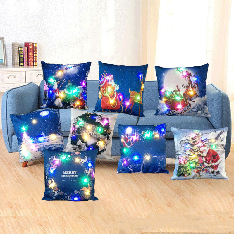 Home Decor Christmas Xmas Flax Sofa Cushion Cover LED Light Throw Pillow Case Festive Gift Hot Sale 45x45cm F