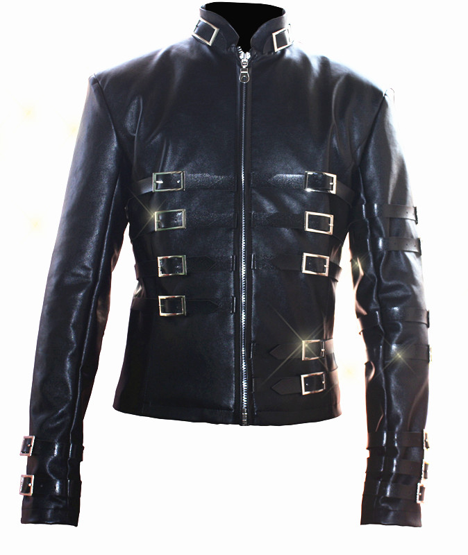 Custom Made New MJ Professional Cosplay MICHAEL JACKSON Costume 1985 Retro Punk Black Jacket Metal Buckle Coat