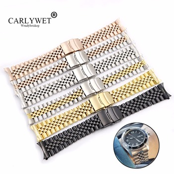 CARLYWET Wholesale 19 20 22mm Hollow Curved End Solid Screw Links Replacement Jubilee Bracelet Watch Band Strap For Dayjust 19 20 22mm gold two tone hollow curved end solid screw links 316l steel replacement watch band strap old style jubilee bracelet
