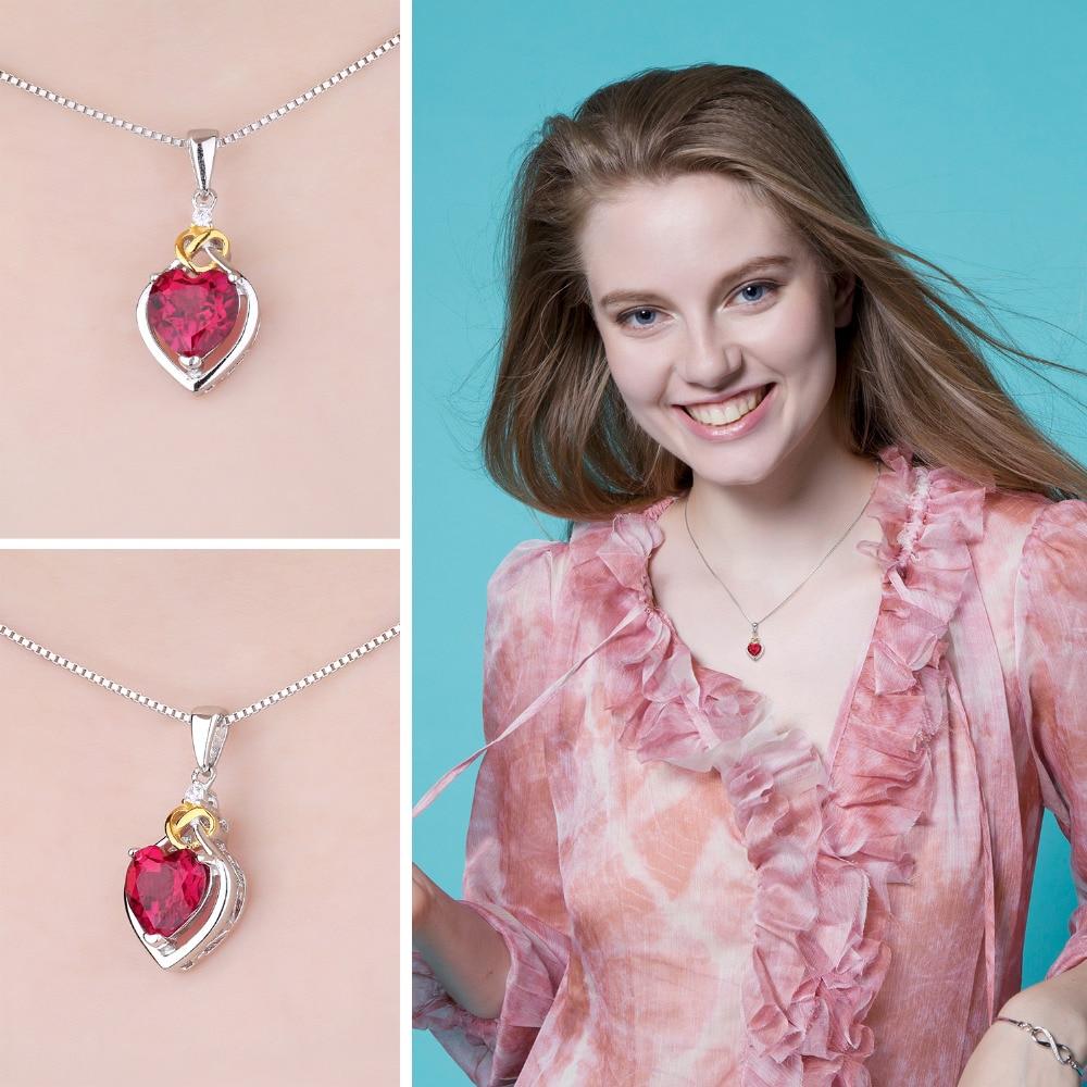 JewelryPalace Love Nnot Heart 2.5ct Creado Ruby Colgante 18 K Oro - Joyas - foto 3