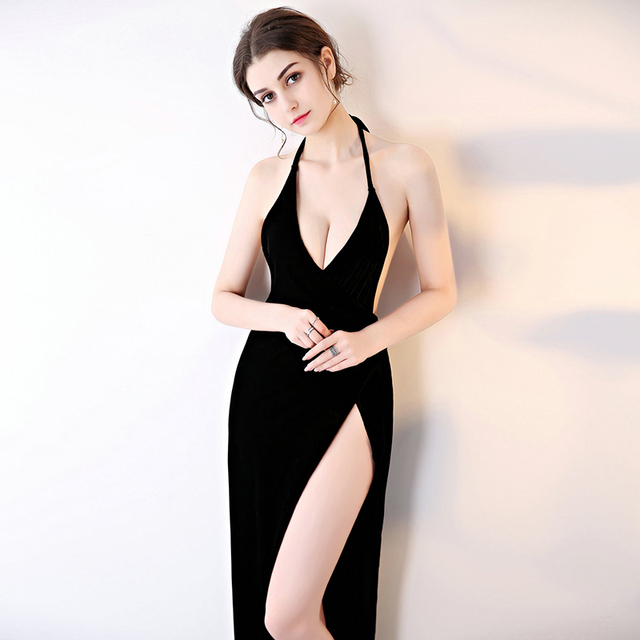 90927b15e0 2018 Sexy Women Blackless Halter Long Dresses Black Velvet Night Club Slit  Dress Pub Party V Neck Bodycon Vestidos Robe Femme