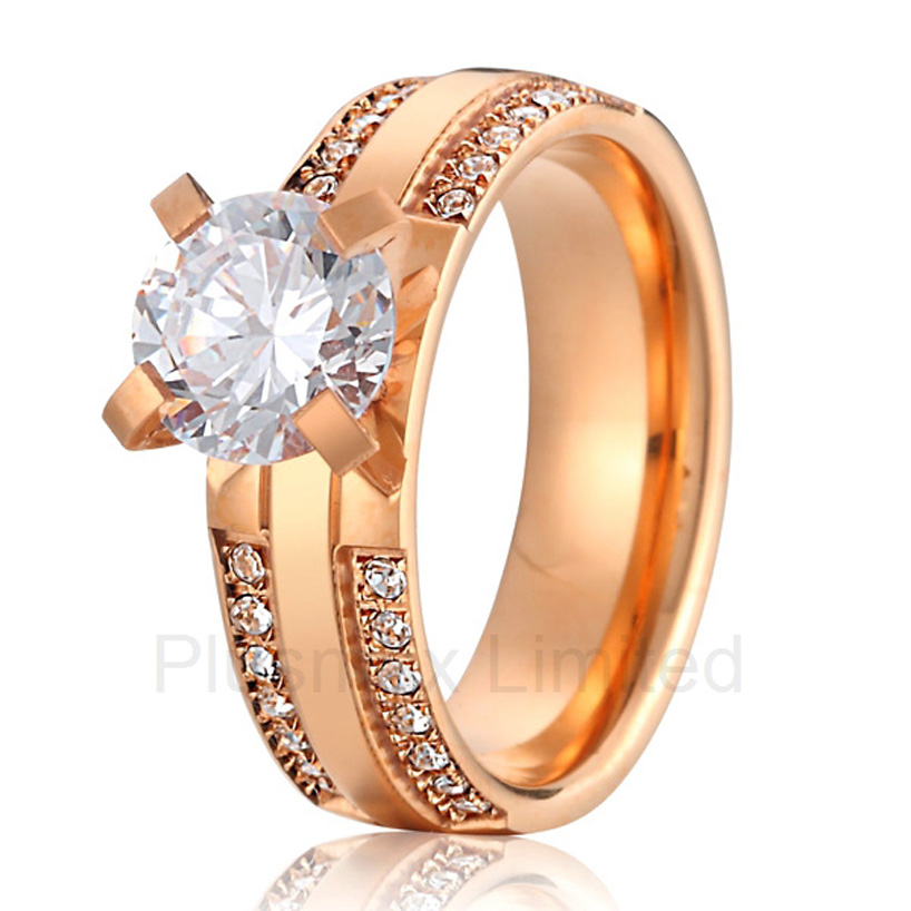 China jewelry factory best gift for wife and girlfriend classic rose gold color wedding engagement rings for women
