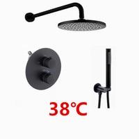 matte black Rain Shower Head Bathroom Brass Black Thermostatic Bath Shower Set Wall Mounted faucet shower set IS609