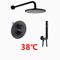 matte black Rain Shower Head Bathroom Brass Black Thermostatic Bath Shower Set Wall Mounted faucet shower set IS609
