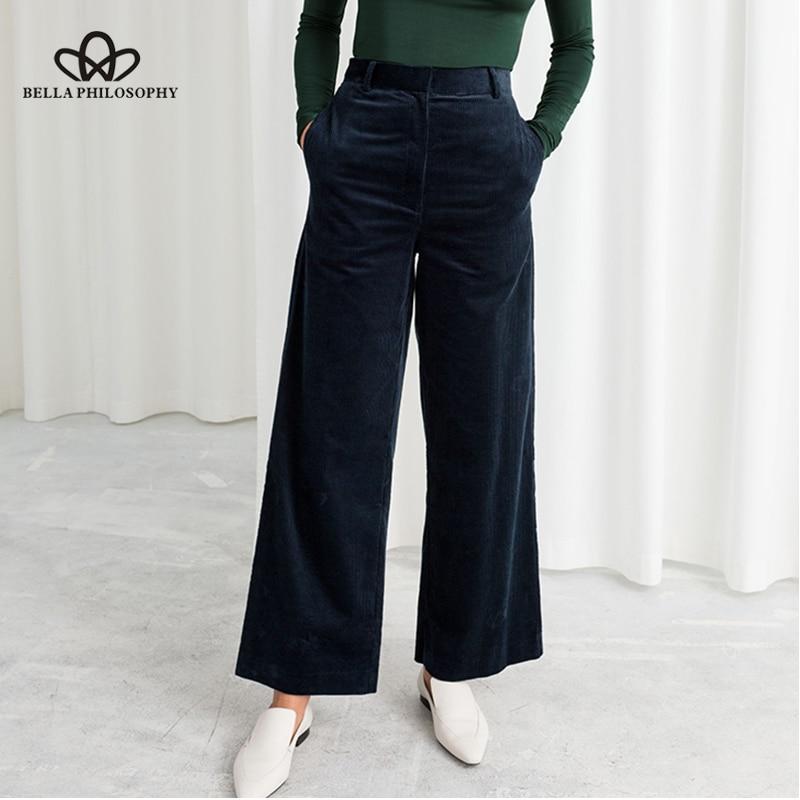 Bella Philosophy Autumn Winter Corduroy Wide Leg Pants Office Trousers Casual Flat Mid Solid Women Pants Streetwear Female Pants