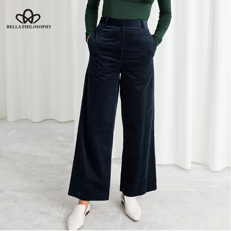Bella Philosophy Autumn Winter Corduroy   Wide     Leg     Pants   Office Trousers Casual flat Mid solid women   pants   streetwear female   pants