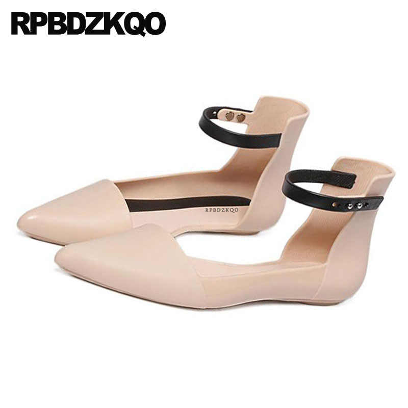 a1361a5dd9d0 ... Nude Navy Blue Pointed Toe Rubber Sole Flats Comfortable Brand Cheap  Shoes China Sandals Vintage Women