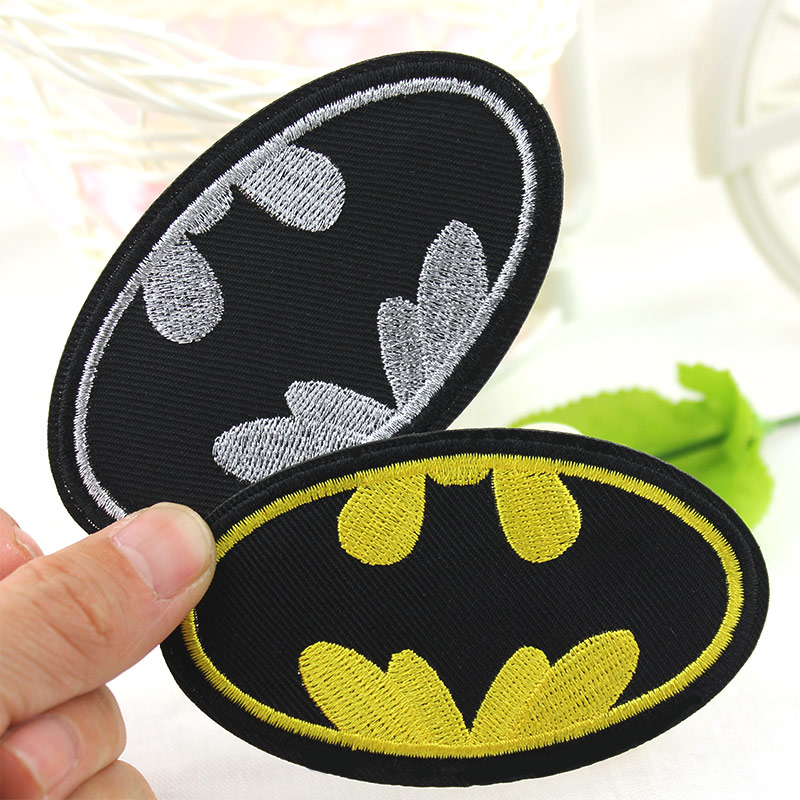 Cartoon Batman LOGO Embroidery Patch Iron On DIY Badges Clothes Patches For Clothing Stickers Appliques Wholesale