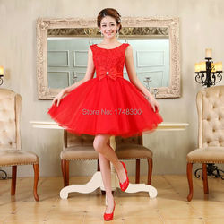 Tulle lace short prom dresses evening dress girl lovely club prom party gown bow red champagne.jpg 250x250