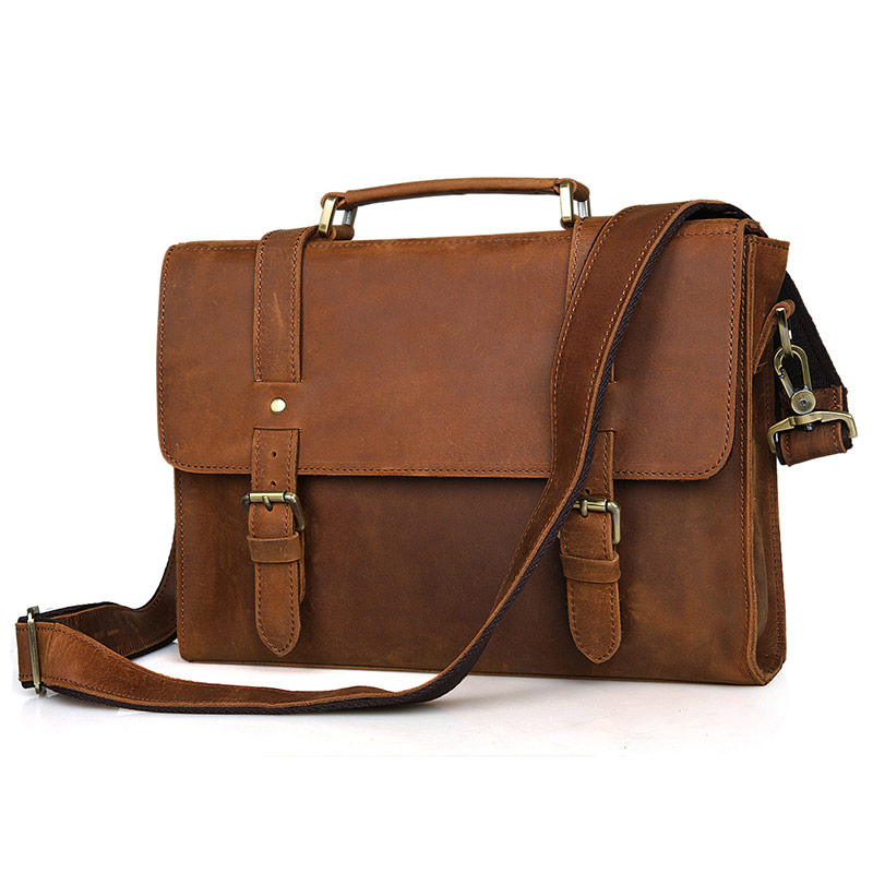 лучшая цена Augus New Product Crazy Horse Leather Bag Men Handbag Shoulder Bag Vintage Messenger Crossbody Bag Brown 6076B