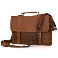 Augus New Product Crazy Horse Leather Bag Men Handbag Shoulder Bag Vintage Messenger Crossbody Bag Brown 6076B