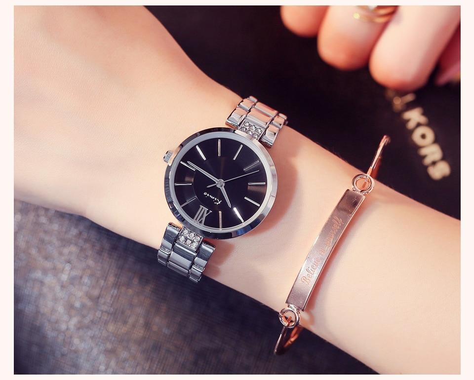 KIMIO Thin Clock Women Fashion Simple Watches Rhinestones Dress Woman Watch Rose Gold Quartz Ladies Women's Watch Wristwatch 18