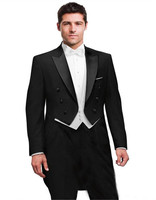 Fashionable Black Tailcoat Groom Tuxedos Groomsmen Men's Wedding Prom Suits Bridegroom (Jacket+Pants+Vest+Tie)