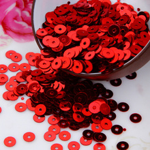 50g(10000pcs) Red color 4mm Flat round loose sequins Paillettes sewing Wedding craft Good quality Free Shipping