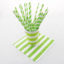308pcs/lot Disposable Party Tableware Sets Apple Green Striped Paper Straws Cups Napkins Free Shipping