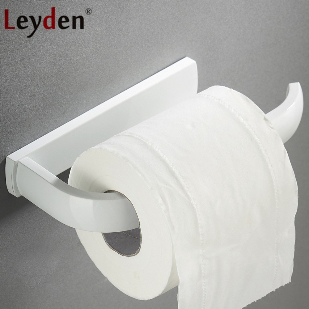 Leyden Wall Mounted White Brass Toilet Paper Holder Bathroom Lavatory Tissue Holder Roll Paper Holder Toilet Accessories leyden copper 4 color toilet roll holder toilet paper holder with shelf wall mounted toilet paper rack bathroom accessories