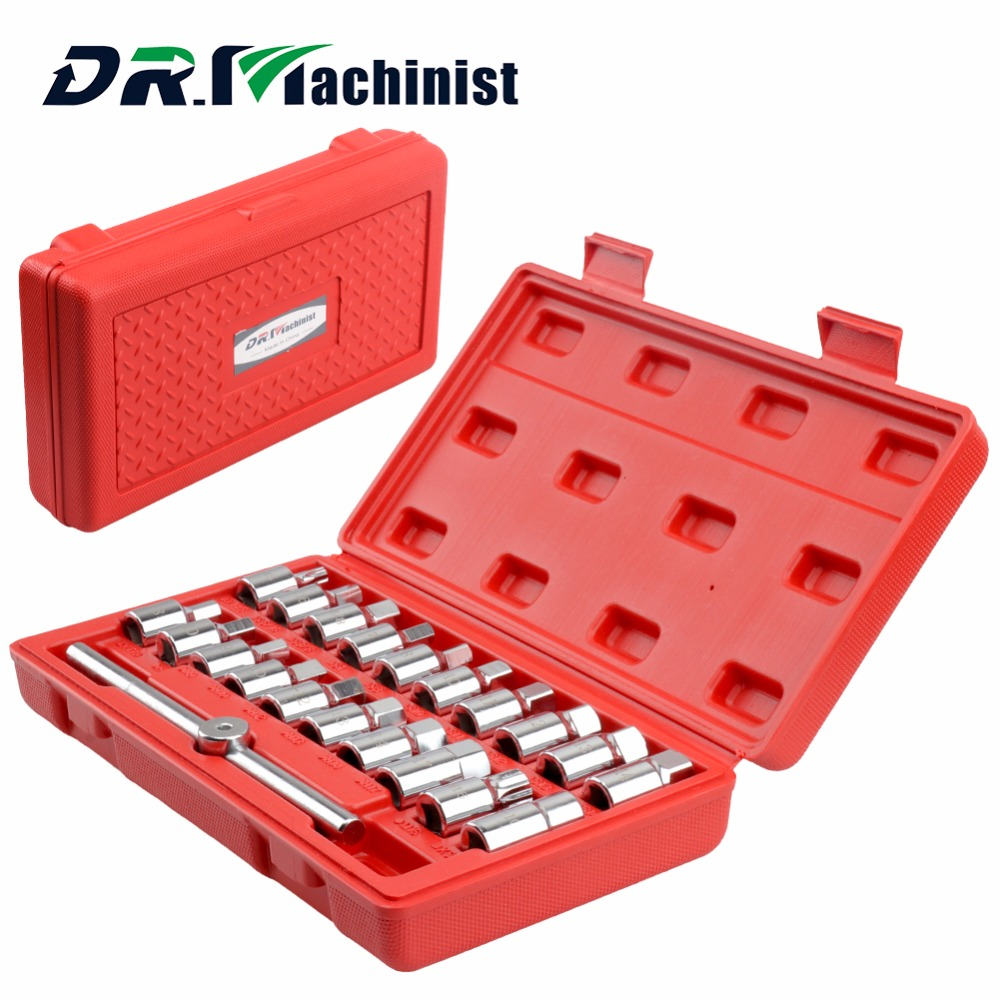 DR.Machinist 21pcs Socket Spanner Wrench Set 1/4 Socket Set Car Repair Tool Direct Drive Ratchet Torque Wrench Combination Bit 20pcs m3 m12 screw thread metric plugs taps tap wrench die wrench set