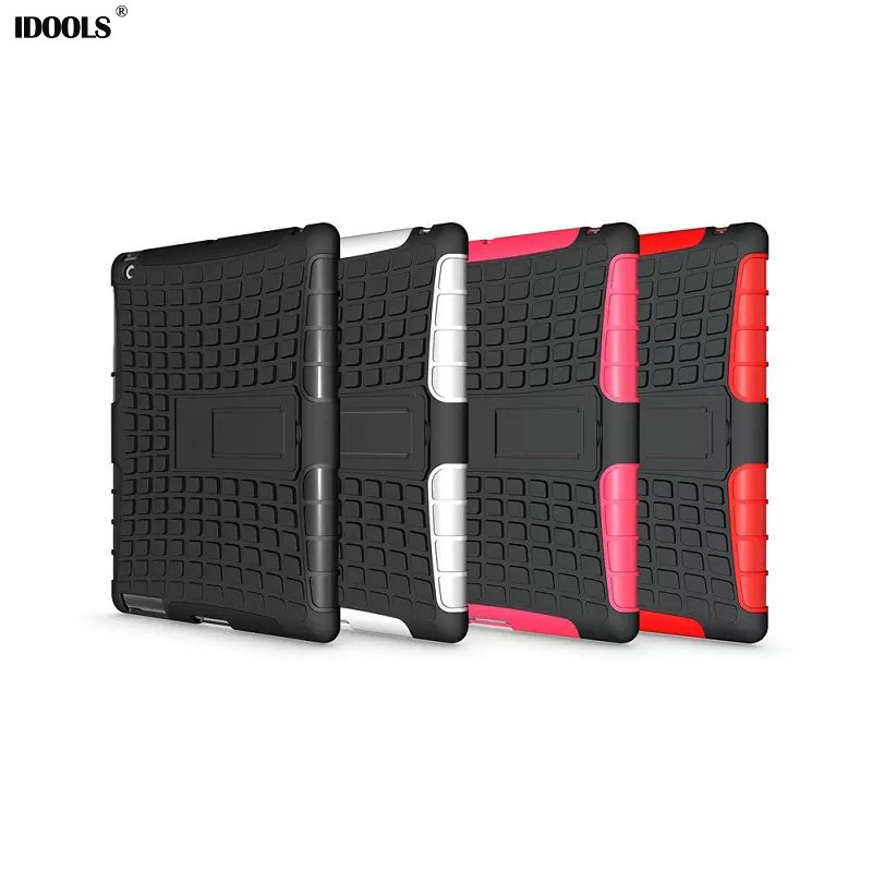 Heavy Duty Impact Hybrid Armor Cover Hard Plastic Case for Apple iPad 2 3 4 With Kickstand Phone Bags & Cases IDOOLS for amazon 2017 new kindle fire hd 8 armor shockproof hybrid heavy duty protective stand cover case for kindle fire hd8 2017