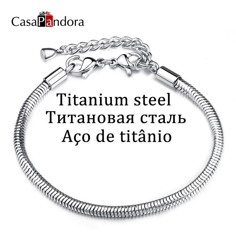 CasaPandora titán acél rozsdamentes acél kobra kígyó lánc karkötő Pulseira homár illik bájos pulsera készítés kiegészítők DIY