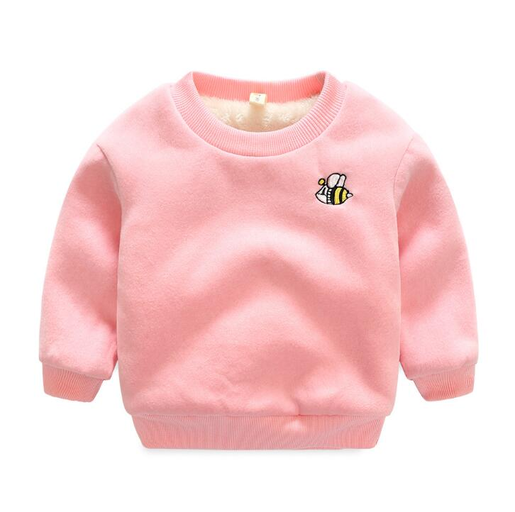 High quality band Winter 2018 Kid Plus velvet sweatshirts Thick cotton Boy girl Warm Cashmere Embroidery dog bee toddler clothes