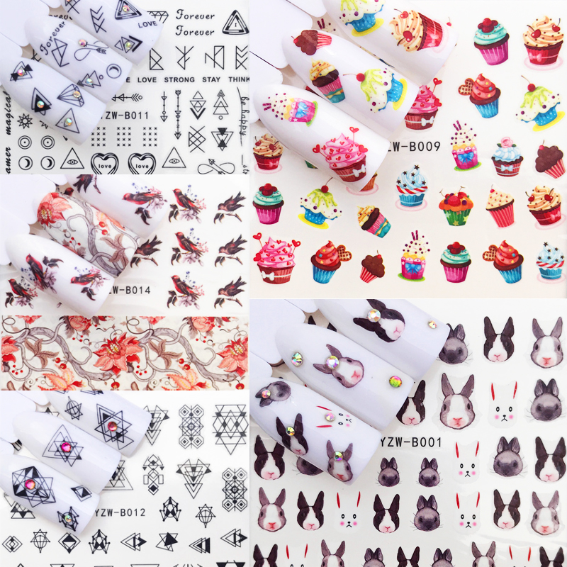 48 Design 1Pcs Water Nail Stickers Geometric Sunset Ethnic Style  Designs Sliders For Nail Decals DIY Manicure