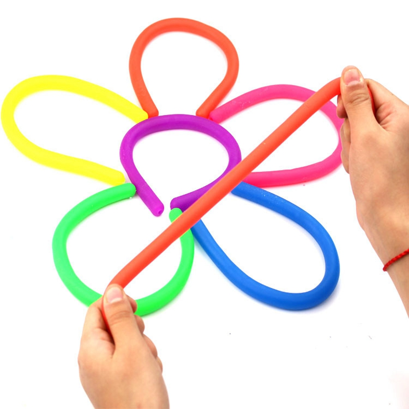 5Pcs/Set Stretchy String Toys TPR Soft Rubber Rope Pull Noodle String Toy Decompression Elastic Rope Anti-Anxiety Squishies Toys