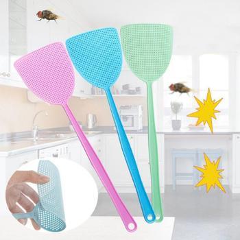 3 sztuk zagęszczony ręczny Fly Swatter plastikowe instrukcja Swatter urządzenie przeciw komarom z długim uchwytem produktów zwalczania szkodników tanie i dobre opinie Prostokątne