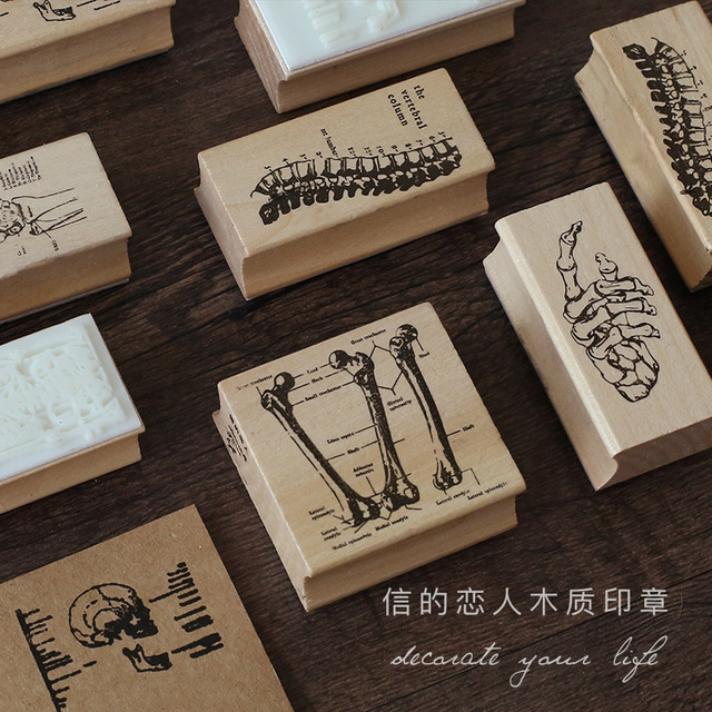 6 Styles Retro Vintage Skeleton Creative Wood Rubber Stamp Scrapbook DIY Floral Decoration High Quality