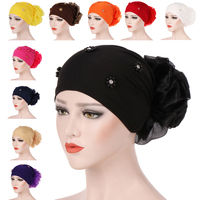 12PCS Women Fashion 2019 Women Beading India Hat Muslim Ruffle Cancer Chemo Beanie Scarf Turban Wrap Cap Bonnet Hat Random Color