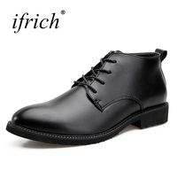 Ifrich Top Quality Spring Autumn Mens Pointed Toe Dress Shoes Lace Up Platform Shoes Black Formal