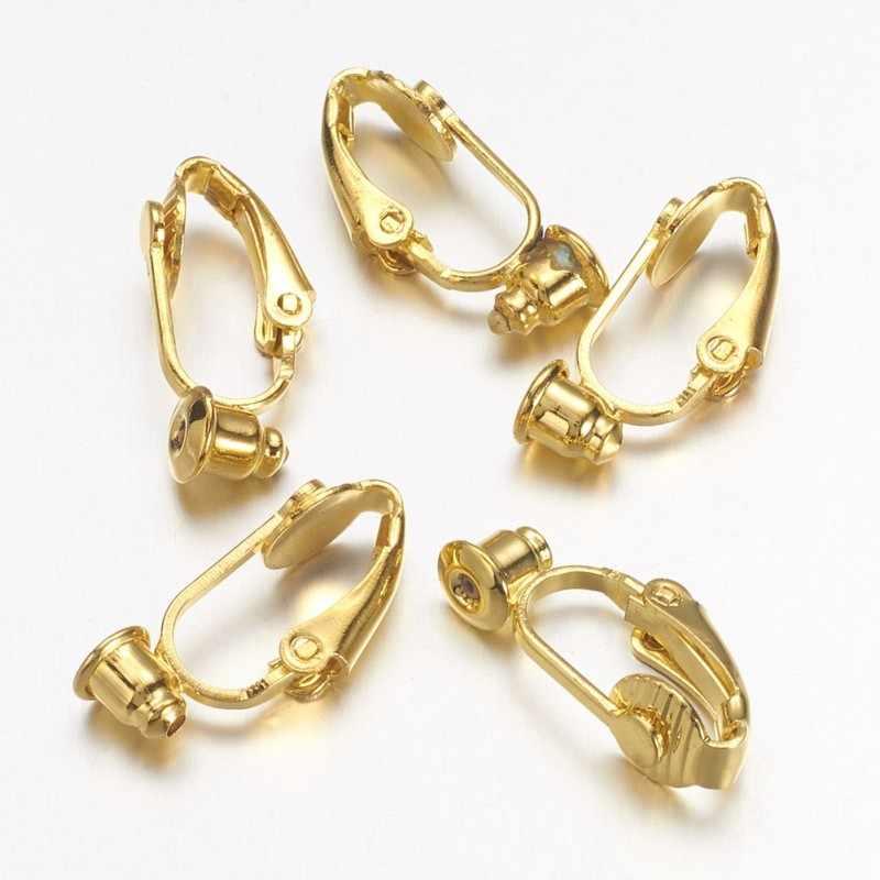 10 шт. золотых/серебряных латунных сережек фурнитура для непроколотых ушей