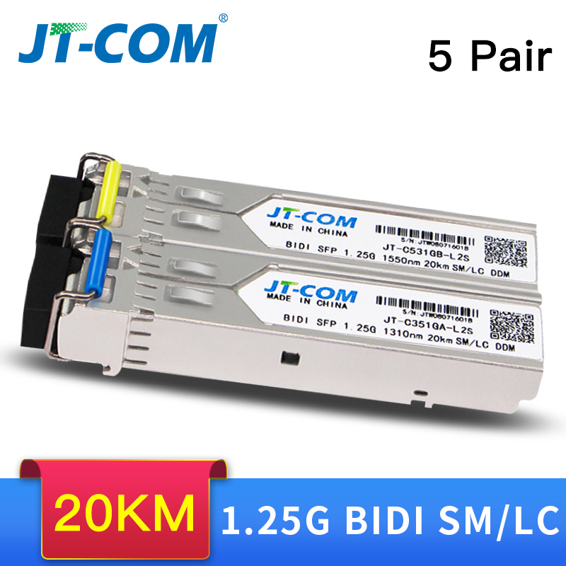 5 pair 20KM Gigabit SM BIDI SFP Module LC Connector Optical Transceiver Single Mode Compatible with