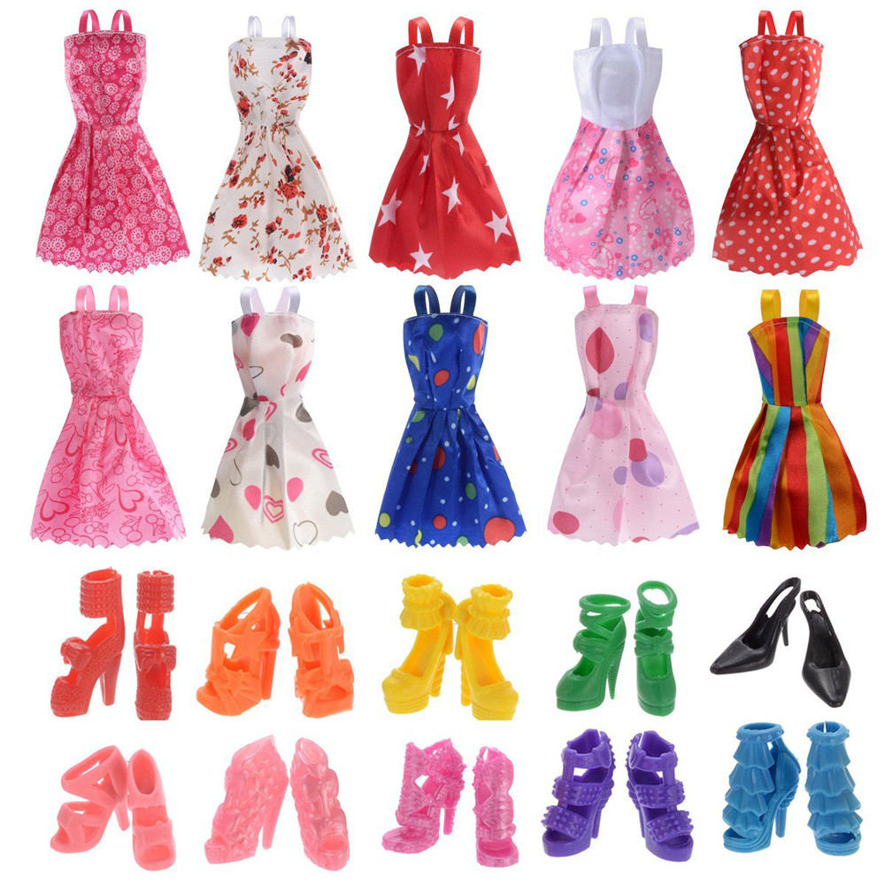 Baby Doll Cool Fashion 10 Pack Doll Clothes Party Gown Outfits With 10 Pairs Doll Shoes Toys & Hobbies