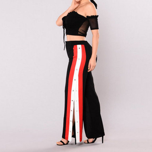 New Fashion Women High Waist Cut off Rivet Button Split Side Pants Loose Causal Patchwork Wide Leg Pants Capris Trousers Rompers